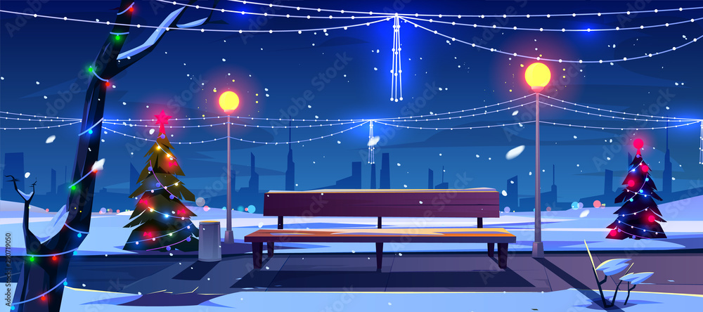 Fototapeta Christmas in night city park, empty public garden with decorated fir-trees, bench and lighting garlands. Winter cityview landscape, Urban place for walking and recreation Cartoon vector illustration