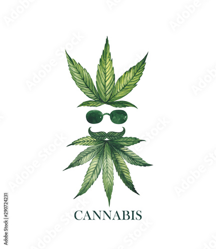 Watercolor illustration. Face silhouette of a man in glasses from cannabis leaves.