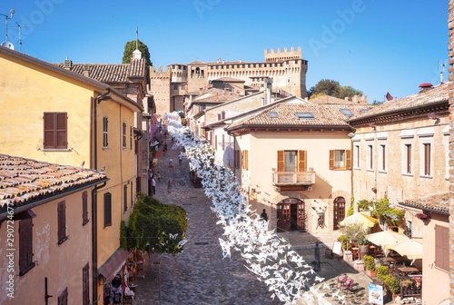 Recess Fitting Old building Panorama of Gradara old city, Marche, Italy. Color image