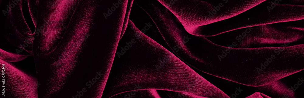 Fototapety, obrazy: Long banner velvet texture dark red pink  color background, expensive luxury fabric,  wallpaper. copy space