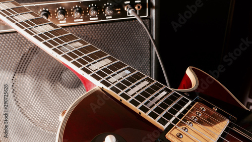 music speaker and electric guitar . copy space - 290725628