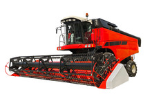 Red Agricultural Combine Isolated On A White Background