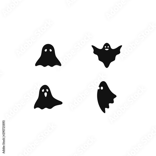 Set of scary ghost logo vector icon illustration design Canvas Print