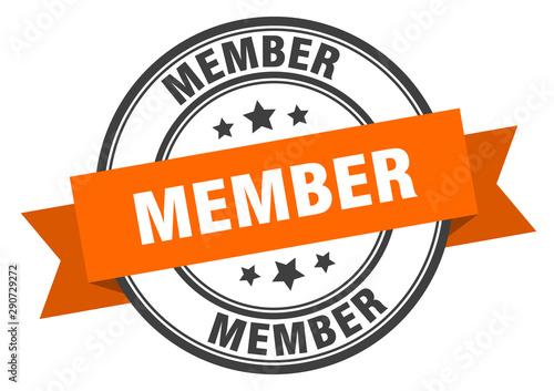 Fotografía member label. member orange band sign. member