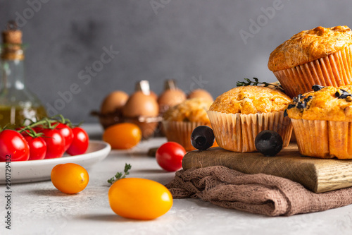Fototapeta  Savory muffins with sun dried tomatoes and olives.