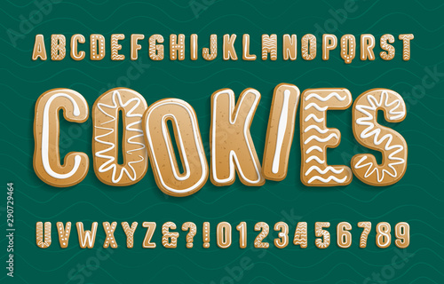 Christmas Gingerbread Cookies alphabet font фототапет