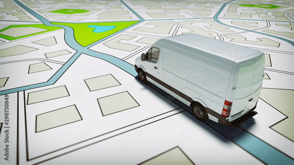 Fototapety, obrazy: Truck on a road city map. Concept of global shipment and GPS tracking