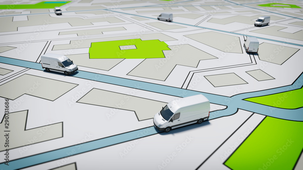 Fototapeta Trucks on a road city map. Concept of global shipment and GPS tracking