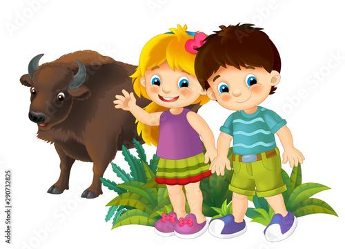 Valokuvatapetti cartoon scene with nature elements kids and animal buffalo - illustration for ch