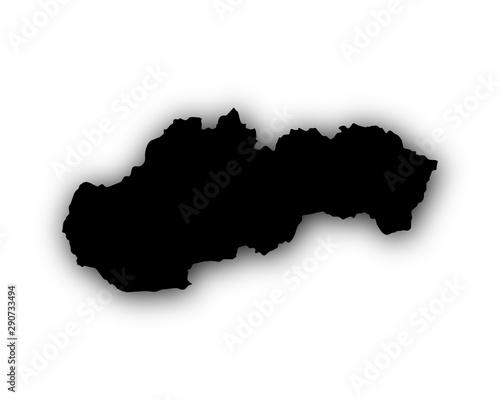 Obraz na plátně Karte der Slowakei mit Schatten
