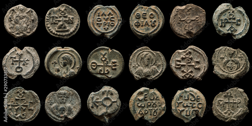 Fototapeta Collage made of high quality images of authentic ancient post seals