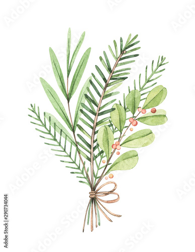Fototapeta  Christmas bouquet with eucalyptus, fir branch and holly - Watercolor illustration