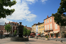 Fountain And Square In Issoire...