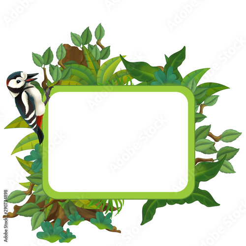 cartoon scene with nature frame and animal woodpecker - illustration for children