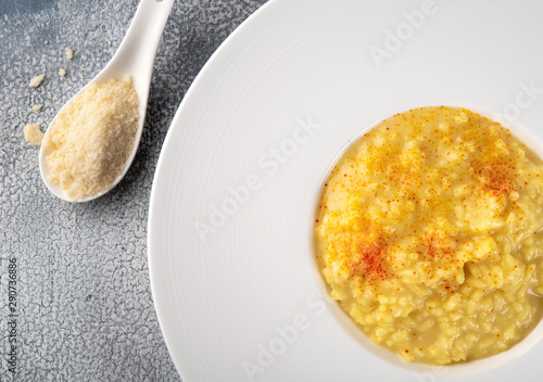 Risotto Milanese with saffron and parmesan cheese Canvas Print