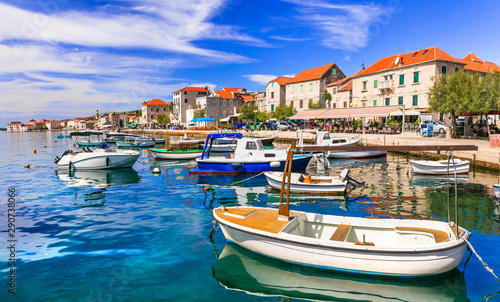 Travel in Croatia. Traditional coastal village Kastela, Kastel Novi with charming harbor