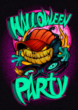 Halloween Party Poster, Invitation Card Or Web Banner With Scary Dj Pumpkin