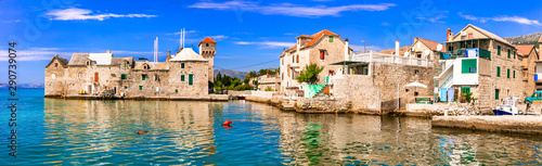 fototapeta na szkło Landmarks of Croatia: Kastel Gomilica - old sea castle and traditional fishing village in Kastela, central Dalmatia