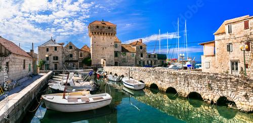 Travel and landmarks of Croatia. Kastel Gomilica - old castle over the sea, popular tourist attraction near Split. Damatia