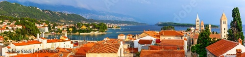 Beautiful Island Rab in Croatia. Townscape panorama from belltower.