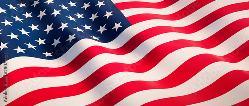 Waving flag of United States - Flag of America - 3D illustration