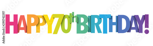 Obraz na plátně HAPPY 70th BIRTHDAY! rainbow typography banner