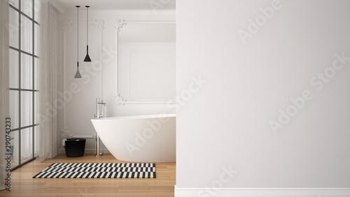 Cuadros en Lienzo  Minimal luxury bathroom with bathtub, carpet, mirror and pendant lamps on a fore