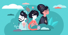 Behavior Vector Illustration. Flat Tiny Feelings Expression Persons Concept