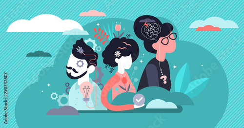 Obraz Behavior vector illustration. Flat tiny feelings expression persons concept - fototapety do salonu