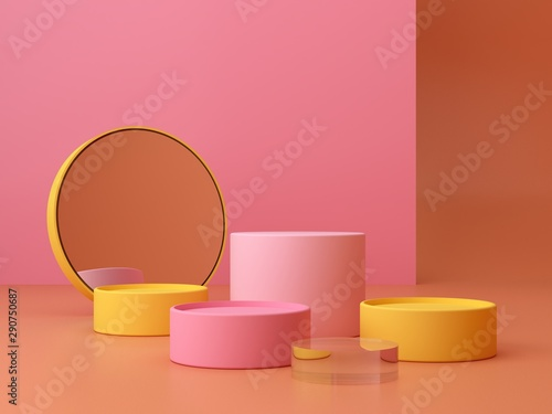 Fotografie, Obraz  Pink coral and yellow shapes on a coral abstract background