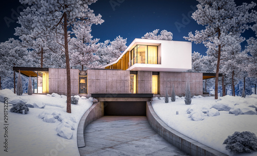 Foto auf Leinwand Lavendel 3d rendering of modern cozy house on the hill with garage and pool for sale or rent with beautiful landscaping on background. Cool winter night with cozy light inside.