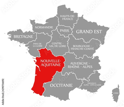 Nouvelle-Aquitaine red highlighted in map of France Wallpaper Mural
