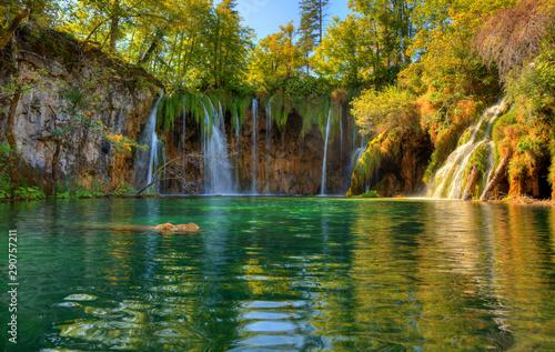 Staande foto Watervallen Plitvice lakes National Park with beautiful waterfalls