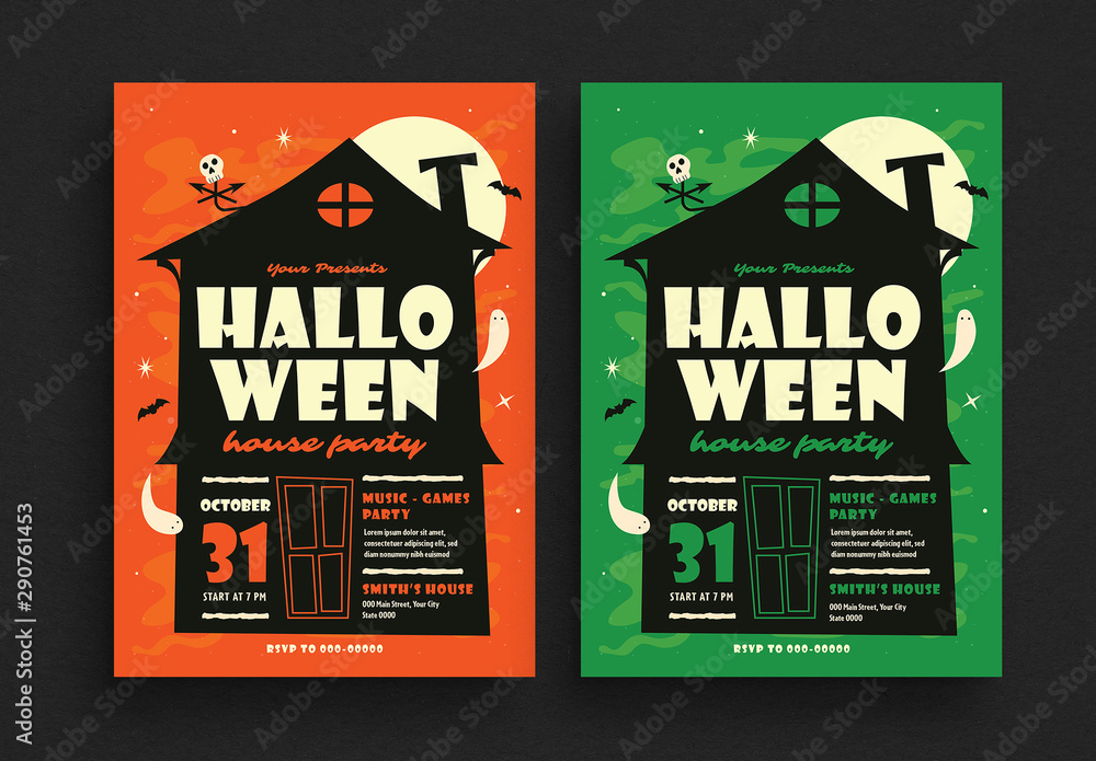 Fototapety, obrazy: Halloween House Party Flyer Layout