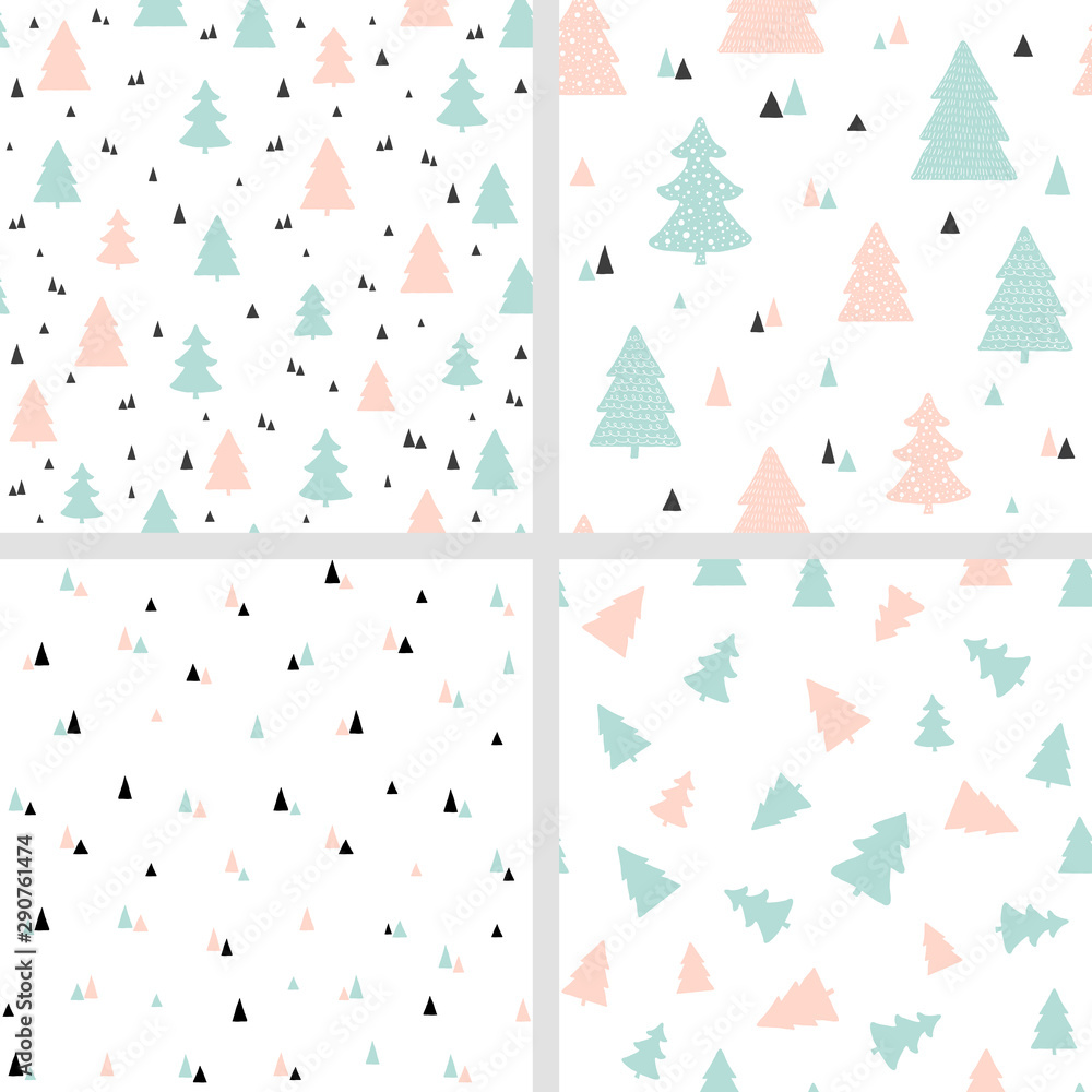 Scandinavian Christmas seamless patterns. Vector set of backgrounds with Christmas trees. For fabric print design