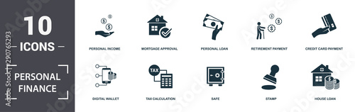 Carta da parati  Personal Finance icons set collection