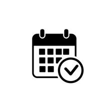 Calendar Vector Icon. Black Il...