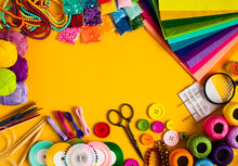 Diy Craft Supplies Top View, F...