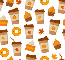 Pumpkin Spice Latte Season. Coffee Mugs And Sweets Isolated On White Background. Flat Vector Seamless Pattern.