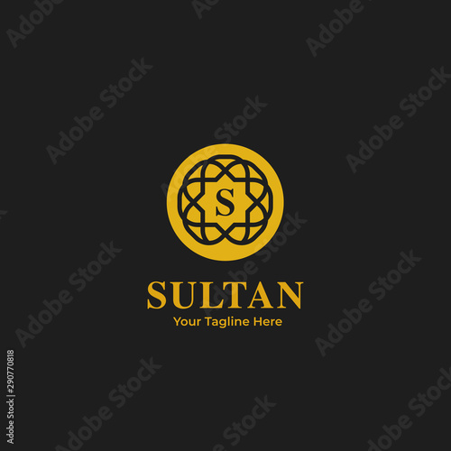 Sultan king premium abstract ornament logo icon badge round circle gold color go Fototapeta