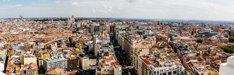 Panoramic aerial view in Madrid, capital of Spain, Europe.