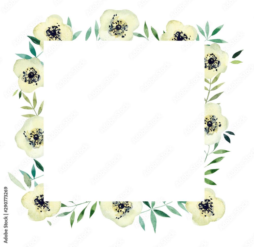 Fototapeta Frame from White flowers. Watercolor hand drawn illustration. White background