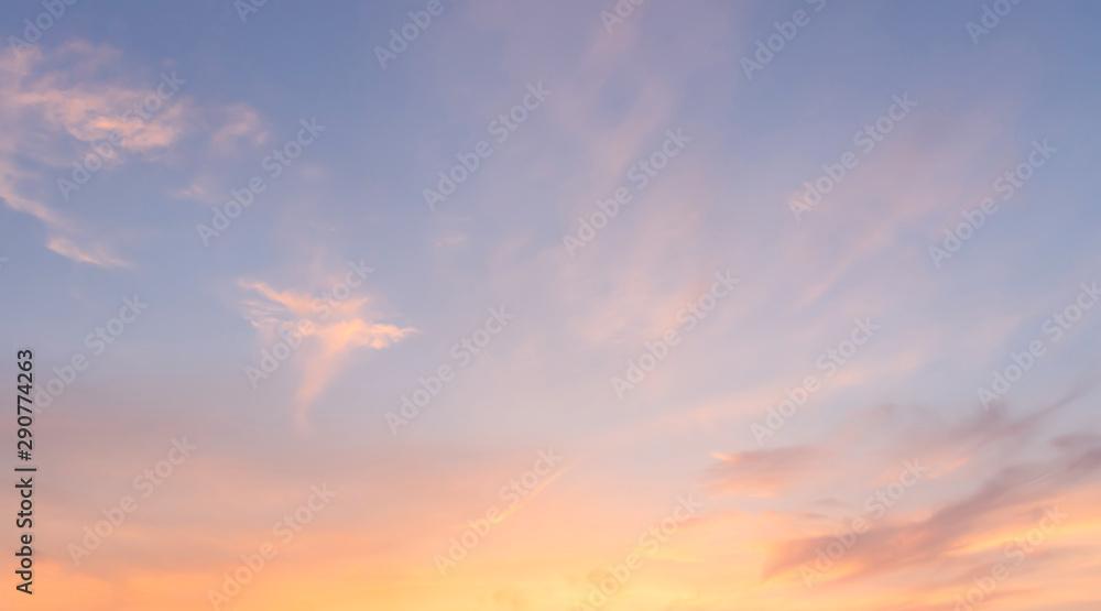 Fototapety, obrazy: Golden hour sky  without sun. Evening sky with sunset. Orange sky background. Blue and orange color sky.