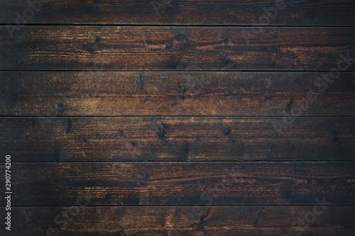 Fotografie, Tablou  Old Vintage dark brown wooden table textured background (high details)