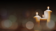 Christmas Advent Candle Light In Church With Blurry Golden Bokeh For Religious Ritual Or Spiritual Zen Meditation, Peaceful Mind And Soul