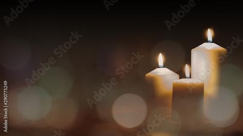 Cadres-photo bureau Lieu de culte Christmas advent candle light in church with blurry golden bokeh for religious ritual or spiritual zen meditation, peaceful mind and soul