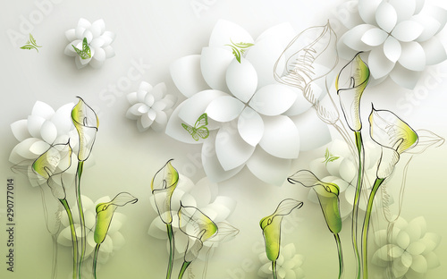 Fototapety 3d   3d-mural-illustration-background-with-golden-jewelry-and-flowers-circles-decorative-wallpaper