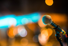 Close-up Of Classic Microphone On Stand At Stage On Concert