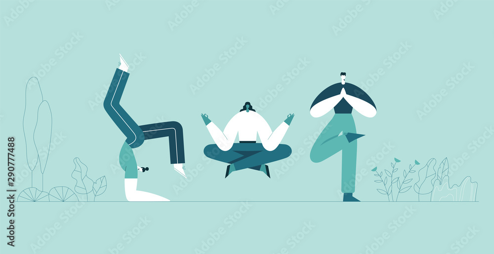 Fototapeta People yoga poses. Man and woman doing asana and meditate. Modern cartoon characters and green plants background. Vector flat illustration. Use in web project and applications.