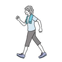 Elderly Woman Walking Illustra...